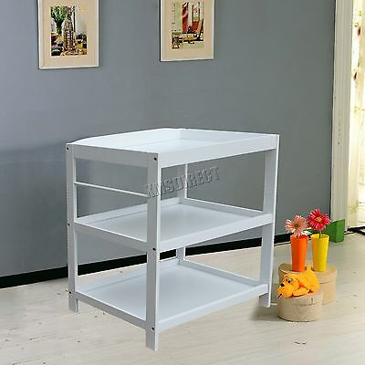 FoxHunter Wood Baby Changing Station Table Unit Infant Nursery Furniture White
