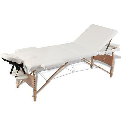 Wooden Portable Massage Table 3 Fold Beauty Therapy Bed Waxing 68cm Cream White
