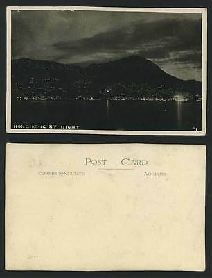 HONG KONG BY NIGHT Old Real Photo Postcard Harbour Peak