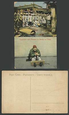 China Old Postcard Chinese Public Execution Prisoner in Stocks Display, Shanghai