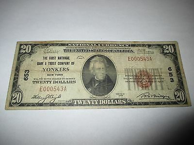 $20 1929 Yonkers New York NY National Currency Bank Note Bill!  Ch. #653 RARE!