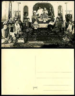 Singapore Malays Wedding Ceremony Bride Groom Bridegroom Old Real Photo Postcard