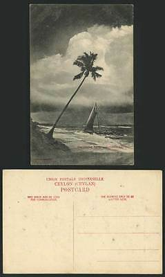 Ceylon Old Postcard The Coming Storm - Colombo, Sailing Boat Palm Tree Sea Shore