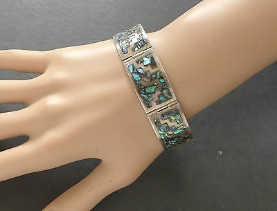 Vintage Mexico 925 Silver Abalone Shell Panel Link Bracelet Signed JPM