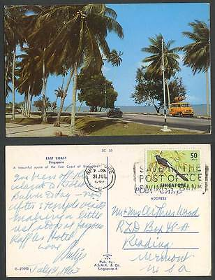 Singapore 50c Bird 1965 Old Postcard East Coast Road Street Scene Car Palm Trees