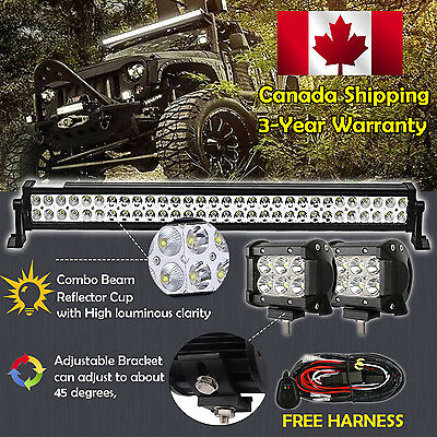 32inch LED Light Bar Combo +2x 4inch Cree Work Off road 4X4 Truck Jeep SUV 30/34
