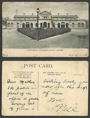 Pakistan Old Postcard LAHORE Government Telegraph Office Street Scene Brit India
