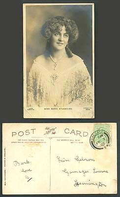 Edwardian Actress Miss MARIE STUDHOLME, Necklace 1905 Old Real Photo Postcard