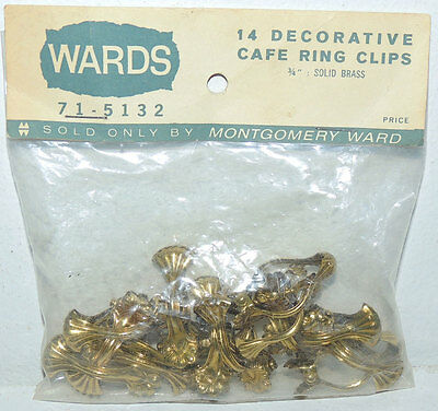 NOS 14 Antique Brass Clam Shell Cafe Curtain Ring Clips Vintage Germany