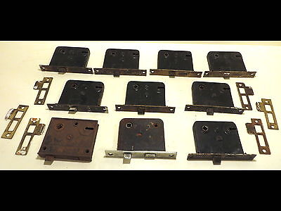 10 Vintage Iron Earle/Yale Door/Cabinet Mortise Latch Dead Bolt Lock Assemblies