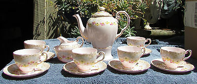 Stunning Vintage Tuscan Hand Painted Bone China Coffee Set  Flowers