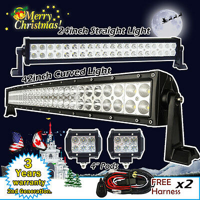 "42inch Curved + 24"" Straight Led Light Bar +2X 4"" CREE Pods Offroad Truck SUV 20"