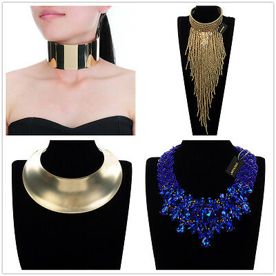 Fashion Jewelry Gold Chain Choker Collar Fringe Statement Pendant Bib Necklace