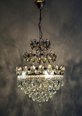 Three Tier Antique French Basket Style Brass & Crystals Chandelier Ceiling Lamp