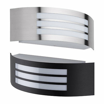 Modern Curved Outdoor Wall Light E27 Fitting Black Stainless Steel