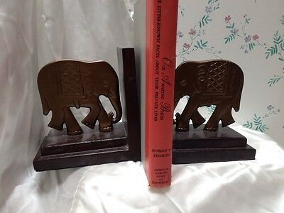A Pair of Wood With Brass Elephants Bookends India