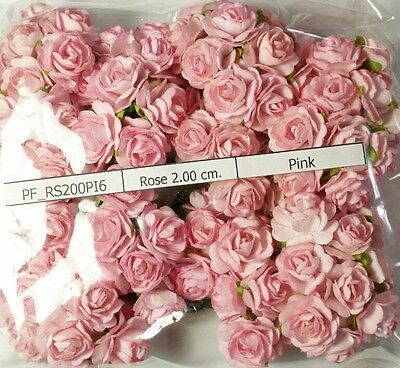 100 Rose Mulberry Paper Flower Scrapbooking Cards Wedding 2cm.Pink RS200ฺํPI6