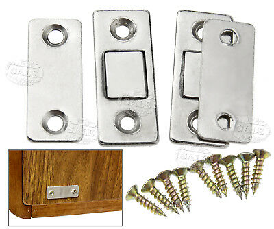 2 x Steel Door Catch Latch Ultra Thin Furniture Magnetic Cabinet Cupboard Glass
