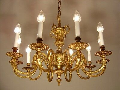 10 Light Spain Brass Chandelier Pocal Vintage Old Lamp Ancient
