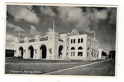 Railway Station.singapore. Old  Printed . Postcard