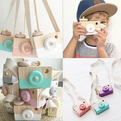 Cute Wooden Toy Camera Kids Girls Boys Creative Neck Camera Photo Props Decor