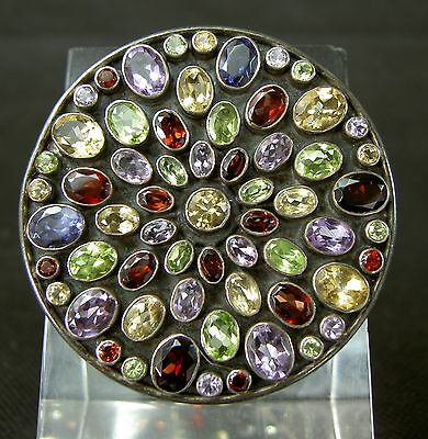 Superbe Broche Argent Pierres Fines Serties Effet Rosace Vitrail Silver Brooch