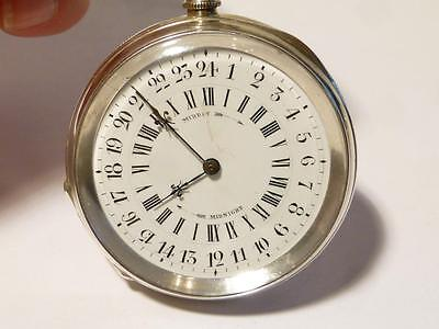 Antique Silver 1884 Unusual 24 Hour Dial MIDDAY - MIDNIGHT Pocket Watch #T306