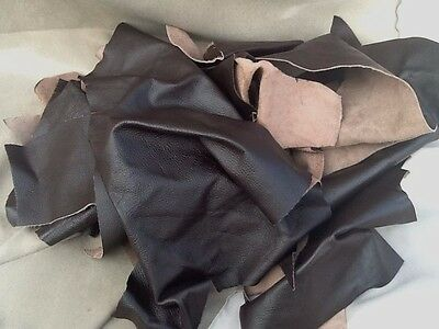 LEATHER  OFFCUTS  PIECES  Dark Brown 2 Kilos Remnants