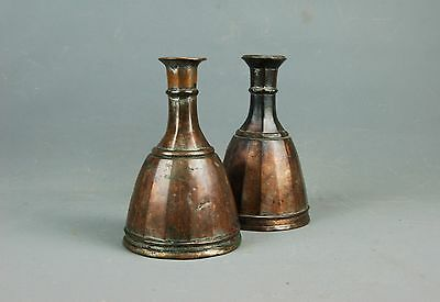 "set of 2 old Persian Middle Eastern Tinned Copper Hookah Pipes Bases Vases 8""H"