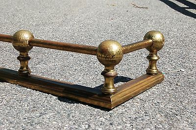 "Arts & Crafts hammered Brass Ball top Fireplace FENDER GUARD SURROUND 42"" 1900s"