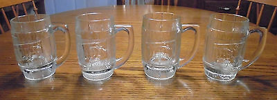 Vintage Dad's Root Beer Set Lot of 4 Clear Thick Glass Mugs Cups  Heavy