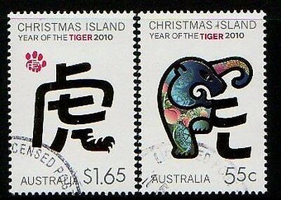 Christmas Island 2010 Year Of The Tiger Set Of 2 Fu
