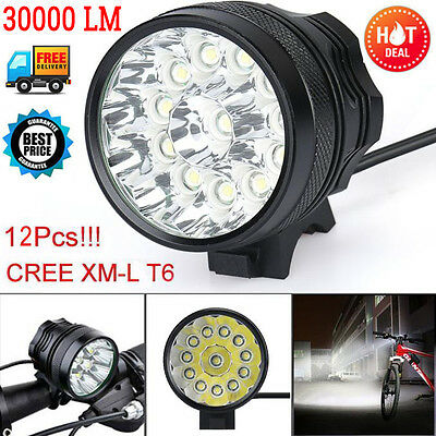 Bike Bicycle 30000Lm 12x CREE T6 LED Head Light Lamp Headlight Cycling Torch UK