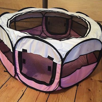 Pink Puppy Playpen Folds Flat For Easy Storage