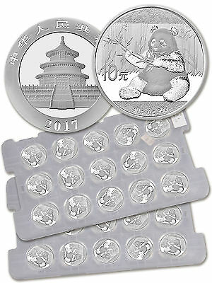 2017 China 10Y 30g Silver Panda 2 Sheets of 15 (30) In Mint Caps SKU43871