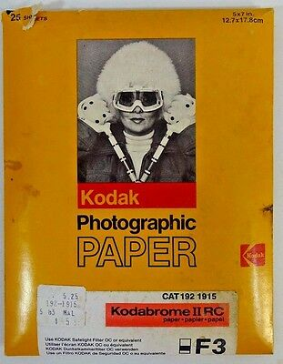 Kodak Kodabrome 5x7 25 Sheet Factory Sealed B&W Photo Paper F3 White Glossy