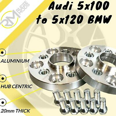 Audi 5x100 57.1 to 5x120 BMW 72.5 20mm Hubcentric PCD Adaptors - Steel Inserts