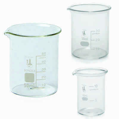 3 Piece Micro Glass Beaker Set - 10ml, 30ml, 50ml, Karter Scientific 233F2