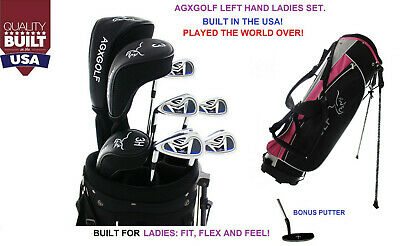 LEFT HAND AGXGOLF LADIES COMPLETE GOLF CLUB SET wDr+3wd+3hy+irons+BAG+Putter