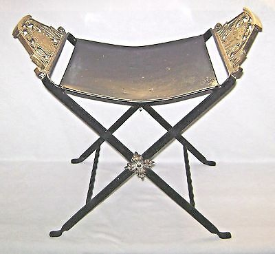 Antique Wrought Iron & Cast Brass Saddle Seat Campaign Chair Pre Columbian Motif