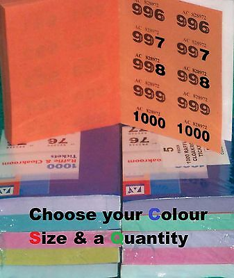 Raffle cloakroom tickets, pick colours 1000 500 400 100 books  easy tear tombola