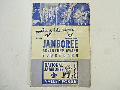 National JAMBOREE Valley Forge 1964 Boy Scouts ADVENTURE AWARD CARD