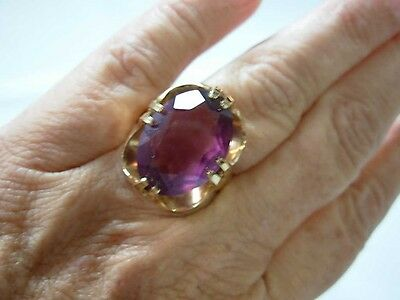 GORGEOUS 18KT H.G.E. YELLOW GOLD PLATED COCKTAIL RING w PURPLE AMETHYST COLOR GE