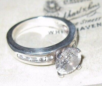 5.27g Pretty Vintage 925 STERLING SOLID SILVER Crystal Jewelley RING Size M 6.25