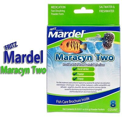 Fritz Mardel Maracyn Two 2 Fast Dissolve 8 Pack Bacterial Infection Powder