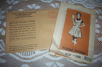 Vintage 1950's Marian Martin Mail Order Sewing Pattern - Full Apron sz M - used
