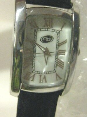 TIme Zone Women's Wrist Watch with Black Leather Band and Mother of Pearl Face