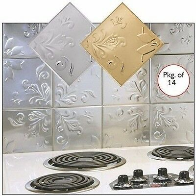 "Floral Embossed Silver Backsplash Tin Wall Tile 14 Pc Kitchen 6"" Sq NEW I3132"