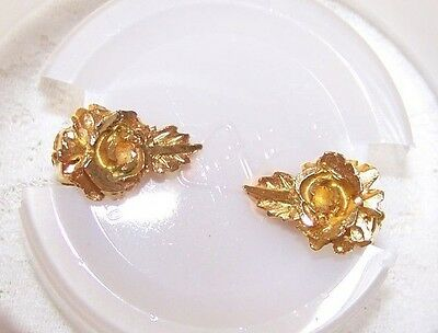Vintage Gold Tone Rose with Leaf Clip On Earrings