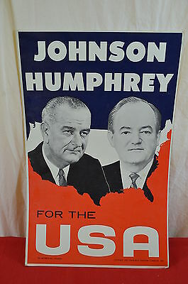 LBJ Johnson Humphrey Presidential Campaign Election Poster 1964    1344